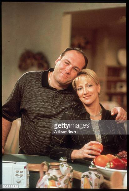 Actors James Gandolfini Edie Falco in scene from HBO TV series The Sopranos