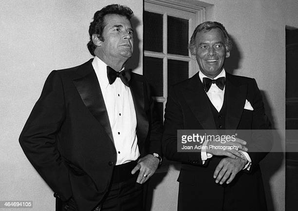 Actors James Garner and David Janssen attend the 30th Annual Emmy Awards on September 17 1978 at the Pasadena Civic Auditorium in Pasadena California