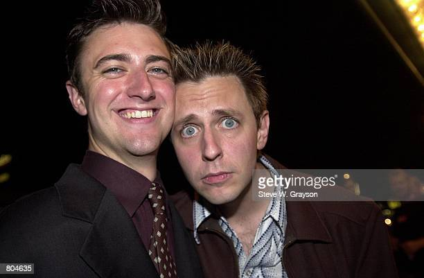 Actors James Gunn and brother Sean Gunn pose for photographers at the premiere of The Specials at The Regent Showcase Theater September 17 2000 in...