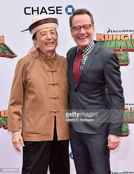 Actors James Hong and Bryan Cranston attend the premiere of DreamWorks Animation and Twentieth Century Fox's 'Kung Fu Panda 3' at TCL Chinese Theatre...