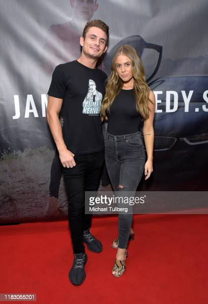 Actors James Kennedy and Danica Dow attend the Los Angeles launch party for JamesKennedyshop at SUR Lounge on October 23 2019 in Los Angeles...