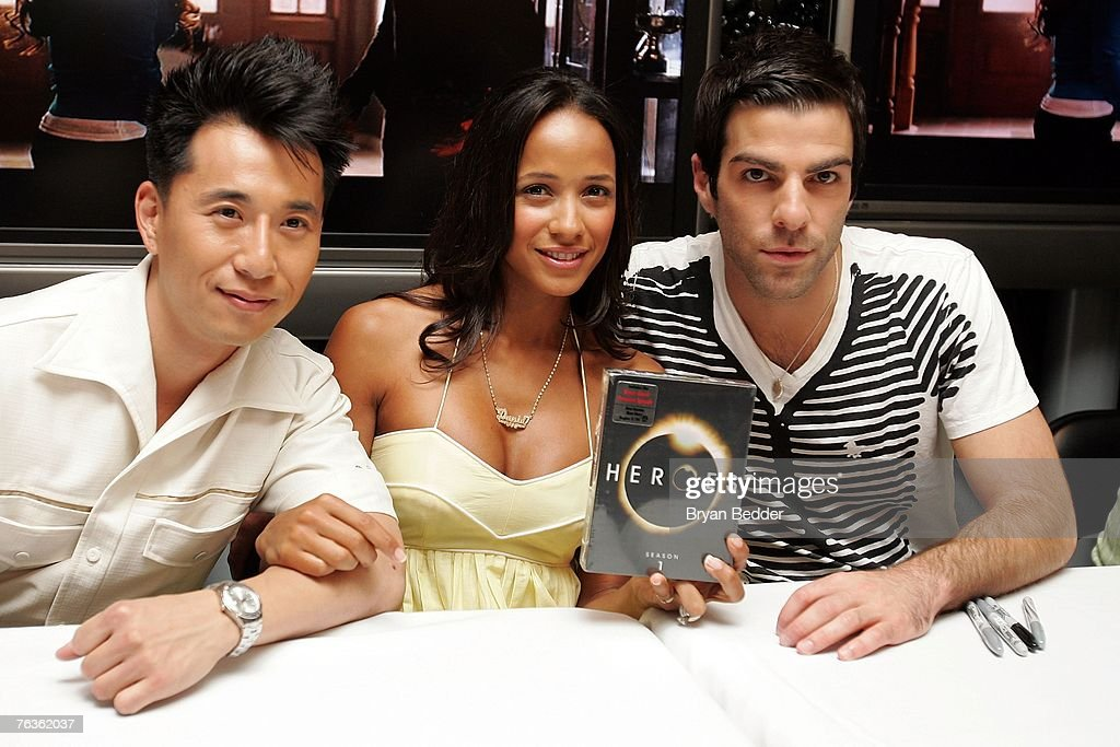 Actors James Kyson Lee, Dania Ramirez and Zachary Quinto attend the NBC Universal celabration for the DVD realease of 'Heroes: Season 1' at the NBC Experience store on August 28, 2007 in New York City.