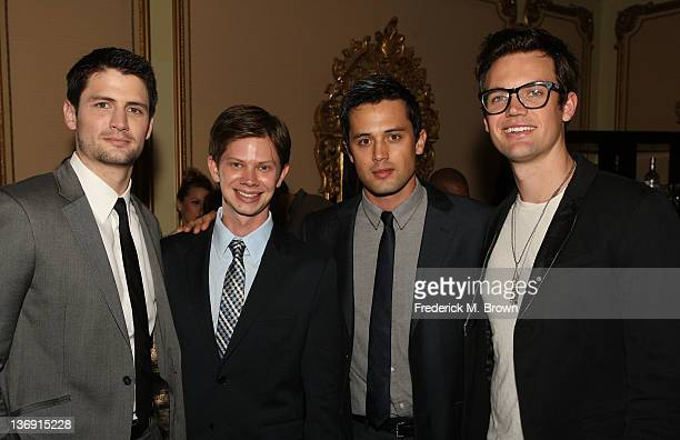 Actors James Lafferty Lee Norris Stephen Colletti and Tyler Hilton attend the 'One Tree Hill' Final Season cocktail reception during the CW portion...