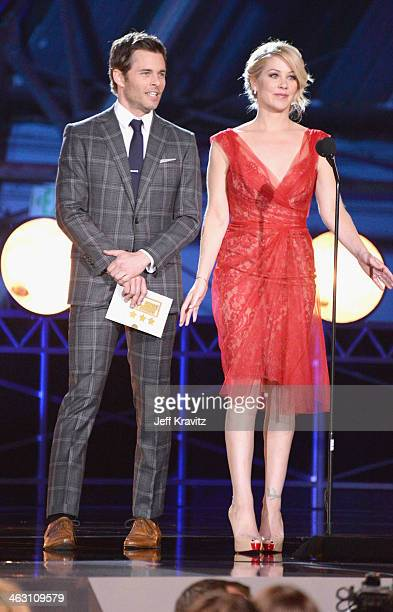 Actors James Marsden and Christina Applegate speak onstage at the 19th Annual Critics' Choice Movie Awards at Barker Hangar on January 16 2014 in...