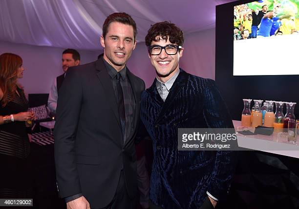 Actors James Marsden and Darren Criss attend 'TrevorLIVE LA' Honoring Robert Greenblatt Yahoo and Skylar Kergil for The Trevor Project at Hollywood...