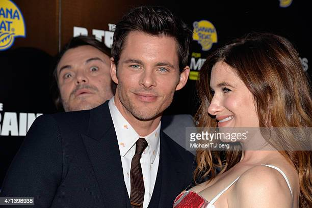 Actors James Marsden and Kathryn Hahn get photobombed by actor Jack Black at the premiere of IFC Films' The D Train at ArcLight Hollywood on April 27...