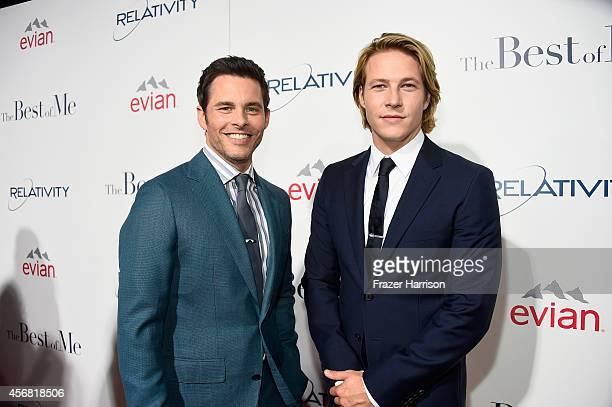 Actors James Marsden and Luke Bracey attend the premiere of Relativity Studios' The Best Of Me at Regal Cinemas LA Live on October 7 2014 in Los...