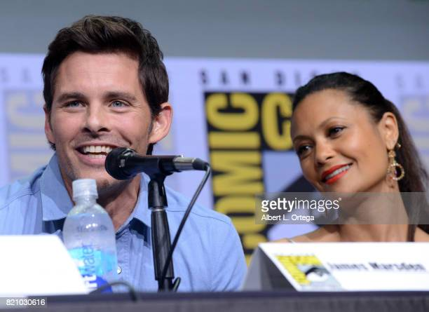 Actors James Marsden and Thandie Newton attend the 'Westworld' panel and QA Session during ComicCon International 2017 at San Diego Convention Center...