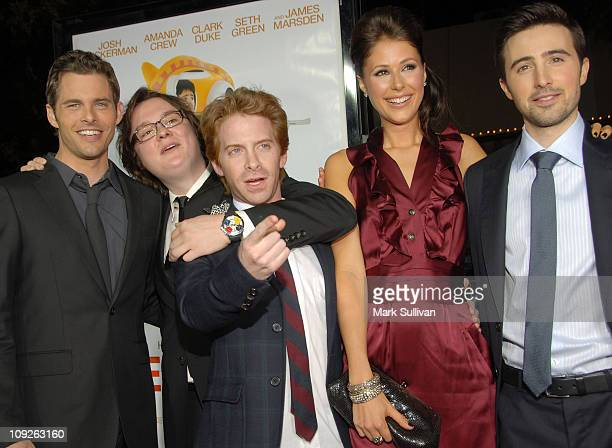Actors James Marsden Clark Duke Seth Green Amanda Crew and Josh Zuckerman arrive at the Los Angeles premiere of 'Sex Drive' on October 15 2008 in...