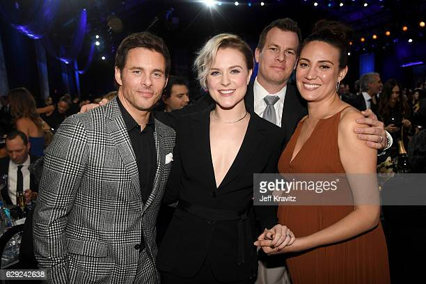 Actors James Marsden Evan Rachel Wood and producers Jonathan Nolan and Lisa Joy attend The 22nd Annual Critics' Choice Awards at Barker Hangar on...