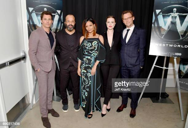 Actors James Marsden Jeffrey Wright Thandie Newton Evan Rachel Wood and Jimmi Simpson at HBO's 'Westworld' FYC panel at the Saban Media Center on May...