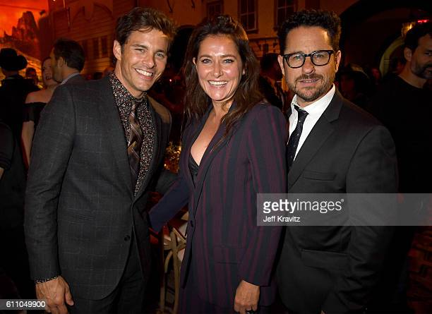 Actors James Marsden Sidse Babett Knudsen and executive producer JJ Abrams attend the premiere of HBO's 'Westworld' after party at The Hollywood...