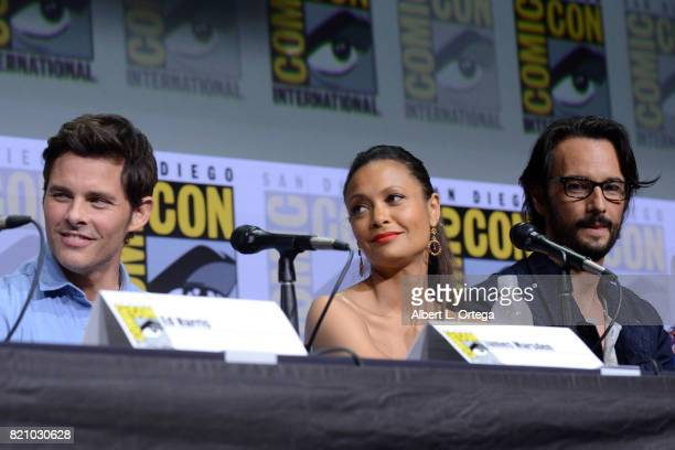 Actors James Marsden Thandie Newton and Rodrigo Santoro attend the 'Westworld' panel and QA Session during ComicCon International 2017 at San Diego...