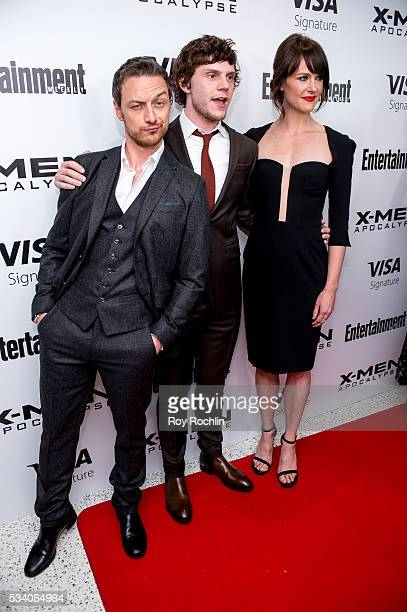 Actors James McAvoy and Evan Peters with actress Carolina Bartczak attend the 'XMen Apocalypse' New York Screening at Entertainment Weekly on May 24...