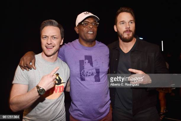 Actors James McAvoy Samuel L Jackson and Chris Pratt attend CinemaCon 2018 Universal Pictures Invites You to a Special Presentation Featuring Footage...