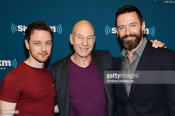 Actors James McAvoy Sir Patrick Stewart and Hugh Jackman of XMEN DAYS OF FUTURE PAST attend the SiriusXM Town Hall at the SiriusXM Studios on May 21...