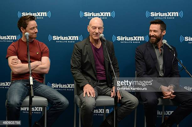 Actors James McAvoy Sir Patrick Stewart and Hugh Jackman of XMEN DAYS OF FUTURE PAST participate in the SiriusXM Town Hall at the SiriusXM Studios on...