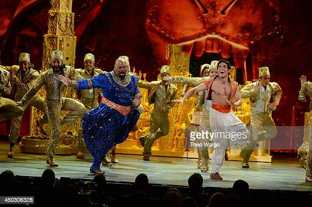 Actors James Monroe Iglehart and Adam Jacobs perform Aladdin onstage during the 68th Annual Tony Awards at Radio City Music Hall on June 8 2014 in...