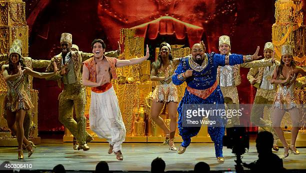 Actors James Monroe Iglehart and Adam Jacobs perform 'Aladdin' onstage during the 68th Annual Tony Awards at Radio City Music Hall on June 8 2014 in...