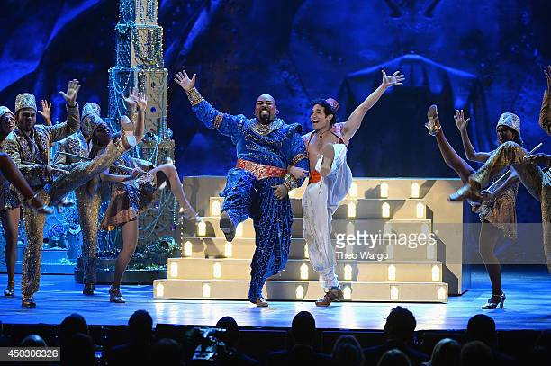 Actors James Monroe Iglehart and Adam Jacobs perform scenes from 'Aladdin' onstage during the 68th Annual Tony Awards at Radio City Music Hall on...