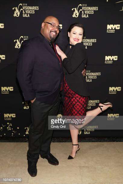 Actors James Monroe Iglehart and Ashley Brown attend the NYC Company Foundation Visionaries Voices Gala 2018 at The Plaza on November 28 2018 in New...