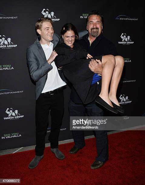 """Actors James Palmer Schoppe, Hannah Hannley and Daniel Baldwin arrive at the Los Angeles premiere of """"See You In Valhalla"""" at the ArcLight Cinemas on..."""