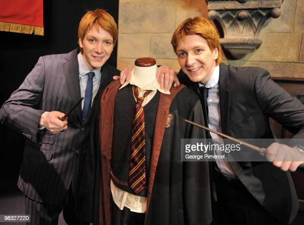 Actors James Phelps and Oliver Phelps attend Harry Potter The Exhibition at the Ontario Science Centre on April 8 2010 in North York Canada