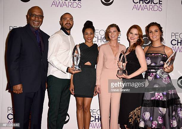 Actors James Pickens Jr Jesse Williams Kelly McCreary Ellen Pompeo Sarah Drew and Camilla Luddington pose in the press room at the 41st Annual...