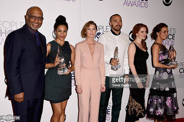 Actors James Pickens Jr Kelly McCreary Ellen Pompeo Jesse Williams Sarah Drew and Camilla Luddington pose in the press room at the 41st Annual...