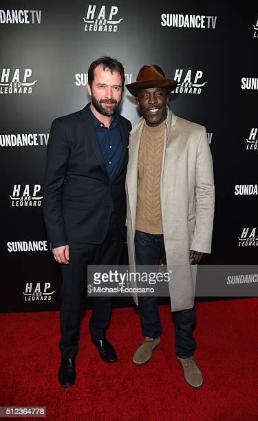 Actors James Purefoy and Michael Kenneth Williams attend SundanceTV's 'Hap and Leonard' Premiere Party at Hill Country Barbecue Market on February 25...