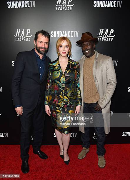 Actors James Purefoy Christina Hendricks and Michael Kenneth Williams attend SundanceTV's 'Hap and Leonard' Premiere Party at Hill Country Barbecue...