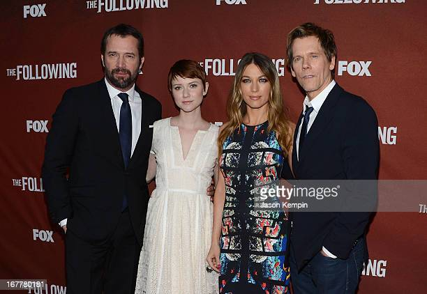 Actors James Purefoy Valorie Curry Natalie Zea and Kevin Bacon attend the screening of Fox's The Following at Leonard H Goldenson Theatre on April 29...