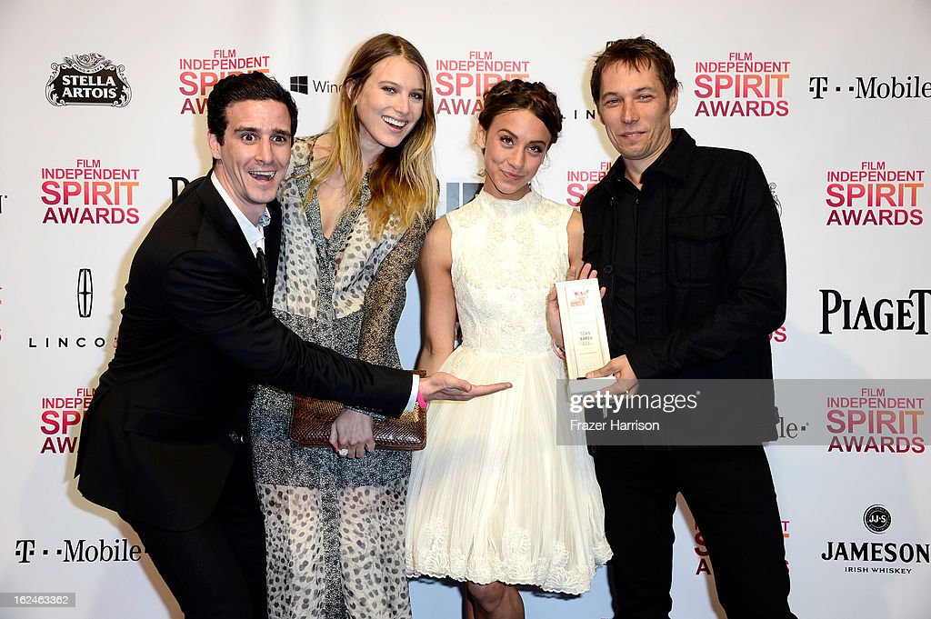 Actors James Ransone, Dree Hemingway and Stella Maeve and director Sean Baker pose with the Robert Altman Award for 'Starlet' in the press room during the 2013 Film Independent Spirit Awards at Santa Monica Beach on February 23, 2013 in Santa Monica, California.