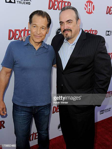 Actors James Remar and David Zayas arrive at the premiere screening of Showtime's Dexter Season 8 at Milk Studios on June 15 2013 in Los Angeles...