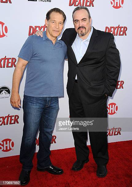 Actors James Remar and David Zayas attend the Dexter series finale season premiere party at Milk Studios on June 15 2013 in Hollywood California