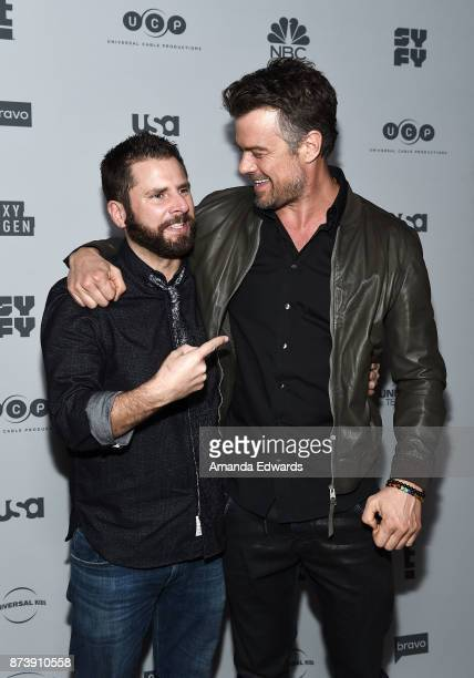 Actors James Roday and Josh Duhamel arrive at NBCUniversal's Press Junket at Beauty Essex on November 13 2017 in Los Angeles California
