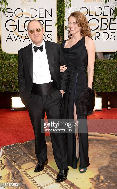 Actors James Spader and Leslie Stefanson attend the 71st Annual Golden Globe Awards held at The Beverly Hilton Hotel on January 12 2014 in Beverly...