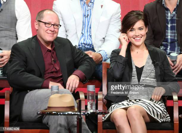 Actors James Spader and Megan Boone speak onstage during 'The Blacklist' panel discussion at the NBC portion of the 2013 Summer Television Critics...