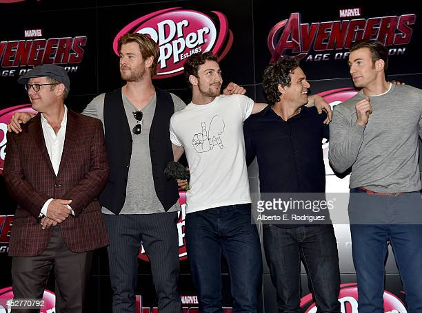 Actors James Spader Chris Hemsworth Aaron TaylorJohnson Mark Ruffalo and Chris Evans onstage at Marvel's Avengers Age Of Ultron Hall H Panel Booth...