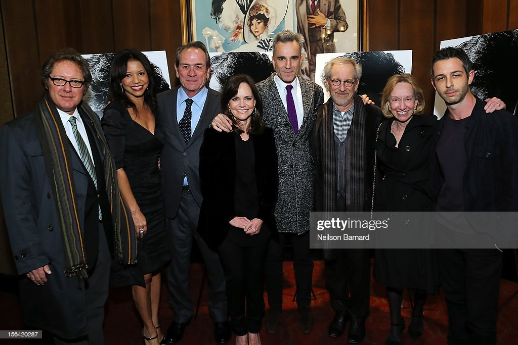 Actors James Spader, Gloria Reuben, Tommy Lee Jones, Sally Field, Daniel Day-Lewis, director Steven Spielberg, historian Doris Kearns Goodwin and actor Jeremy Strong attend the special screening of Steven Spielberg's 'Lincoln' at the Ziegfeld Theatre on November 14, 2012 in New York City.