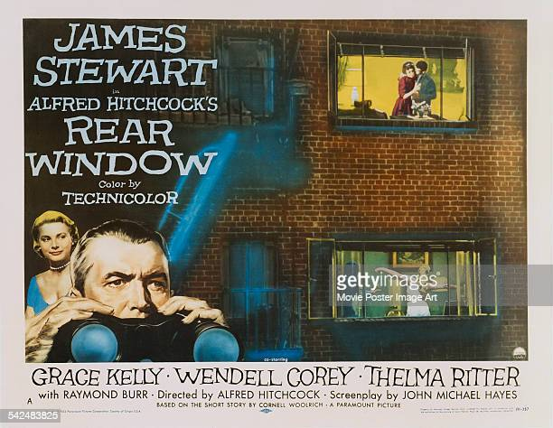 Actors James Stewart and Grace Kelly appear on the poster for the Paramount Pictures film 'Rear Window' 1954 The film was directed by Alfred Hitchcock