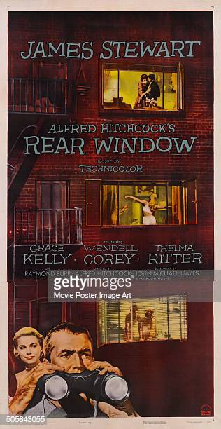 Actors James Stewart and Grace Kelly feature on a poster for the movie 'Rear Window' 1954