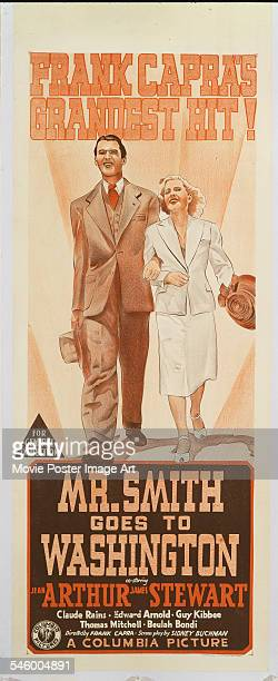 Actors James Stewart and Jean Arthur appear on a poster for the Columbia Pictures film 'Mr Smith Goes to Washington' 1939