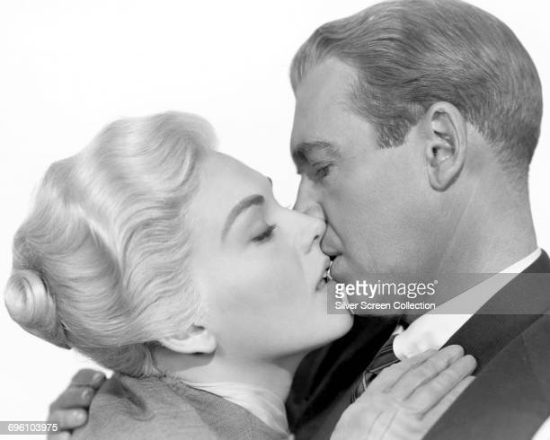 Actors James Stewart as Det John 'Scottie' Ferguson and Kim Novak as Madeleine Elster/Judy Barton in a publicity still for the Alfred Hitchcock...
