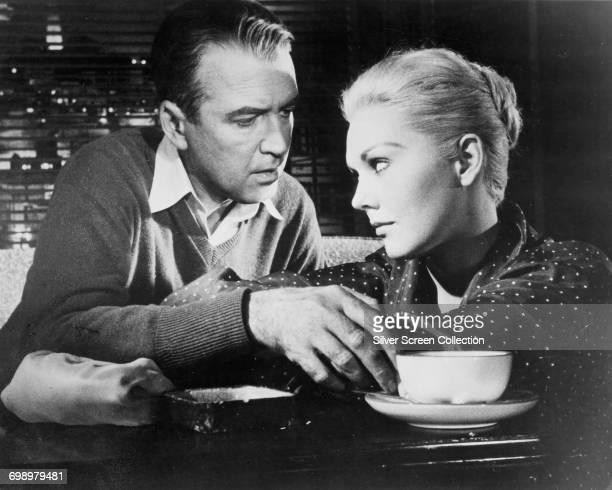 Actors James Stewart as Det. John 'Scottie' Ferguson and Kim Novak as Madeleine Elster/Judy Barton in the Alfred Hitchcock thriller 'Vertigo', 1958.
