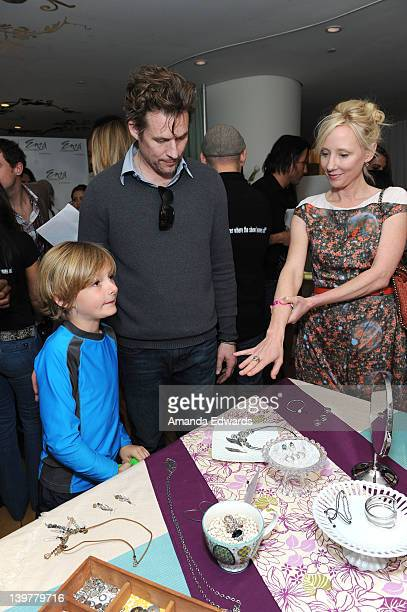 Actors James Tupper and Anne Heche and son Atlas pose with Silpada at Kari Feinstein's Oscars Style Lounge at Mondrian Los Angeles on February 24...