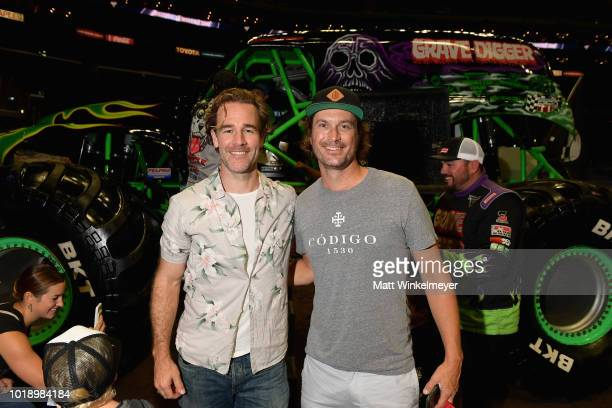 Actors James Van Der Beek and Oliver Hudson attend Monster Jam at STAPLES Center on Saturday August 18 2018 in Los Angeles CAa