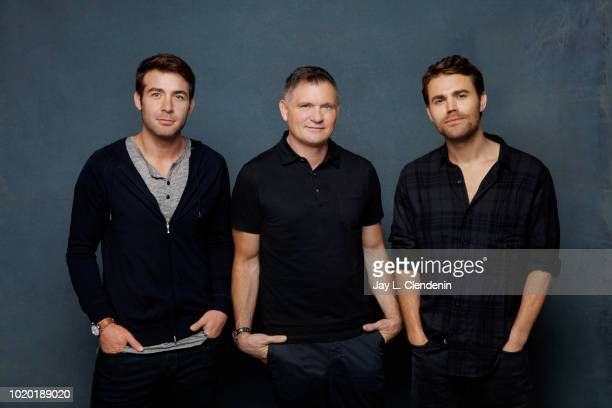 Actors James Wolk writer Kevin Williamson and Paul Wesley from 'Tell Me a Story' are photographed for Los Angeles Times on July 19 2018 in San Diego...