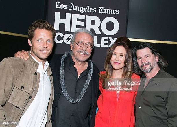 Actors Jamie Bamber Edward James Olmos Mary McDonnell and writer Ronald D Moore attend LA Times Hero Complex Film Festival Battlestar Galactica...
