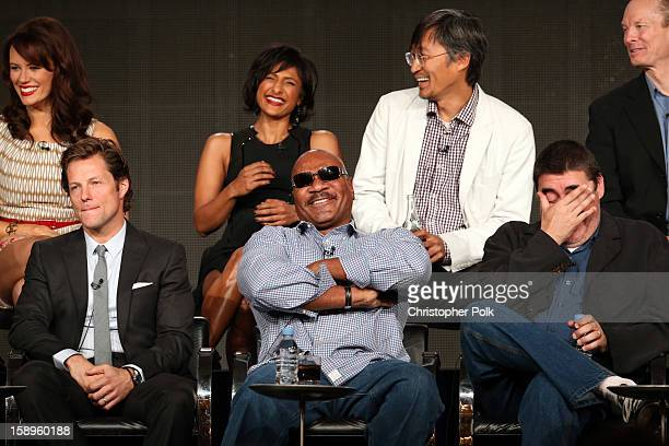 Actors Jamie Bamber Ving Rhames Alfred Molina Actors Emily Swallow Sarayu Blue Keong Sim and Bill Irwin of Monday Mornings speak onstage during...